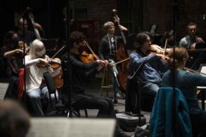 Violas and basses rehearsing Beethoven.